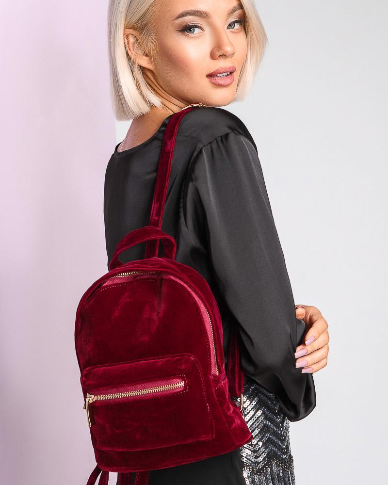Замшевый рюкзак-мини фото