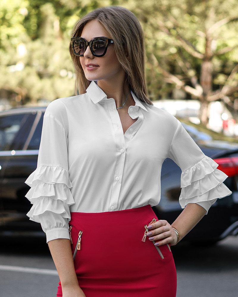 Купить Bluzy-rubashki_bluzy-rubashki-bolshie-razmery, Офисная блуза с рюшами, Gepur