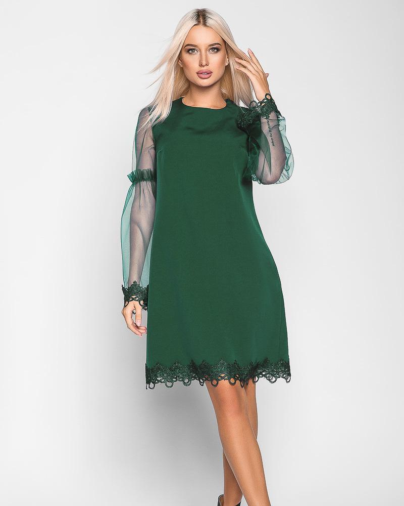 Платье с прозрачным рукавом фото