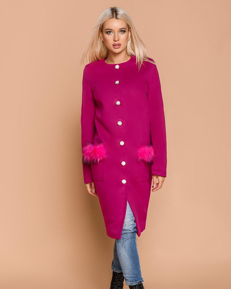 Купить Verhnyaya-odezhda_palto_kashemirovye-palto, Яркое пальто с мехом, Gepur