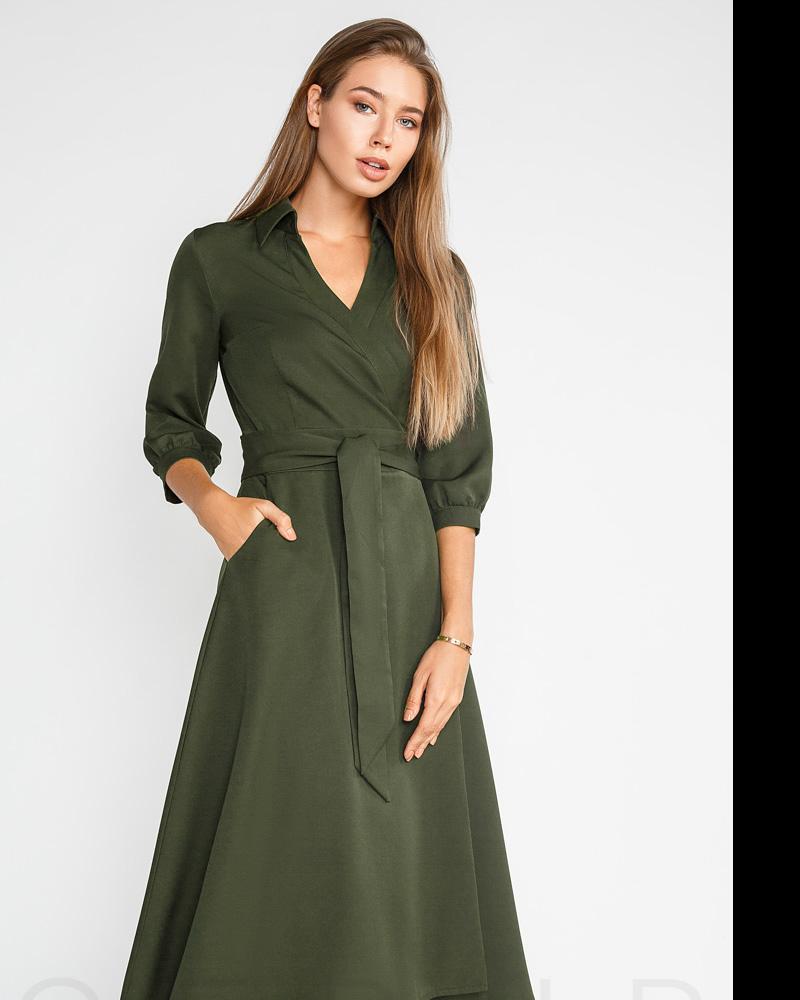 Расклешенное платье-халат