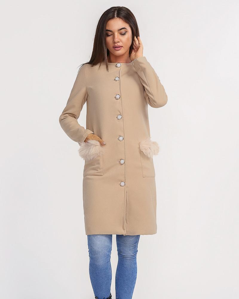 Verhnyaya-odezhda_palto_kashemirovye-palto, Минималистичное пальто с мехом, Gepur  - купить со скидкой