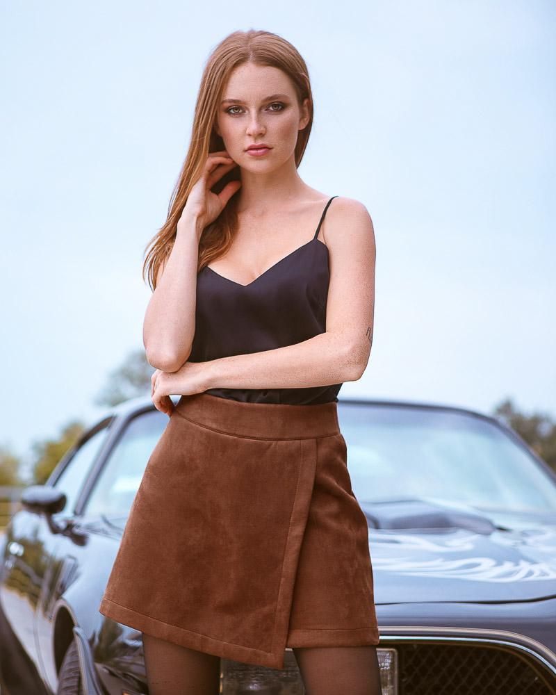Замшевые шорты-юбка фото