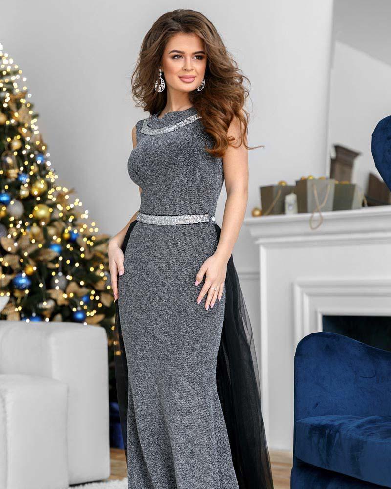 Блестящее платье-макси фото