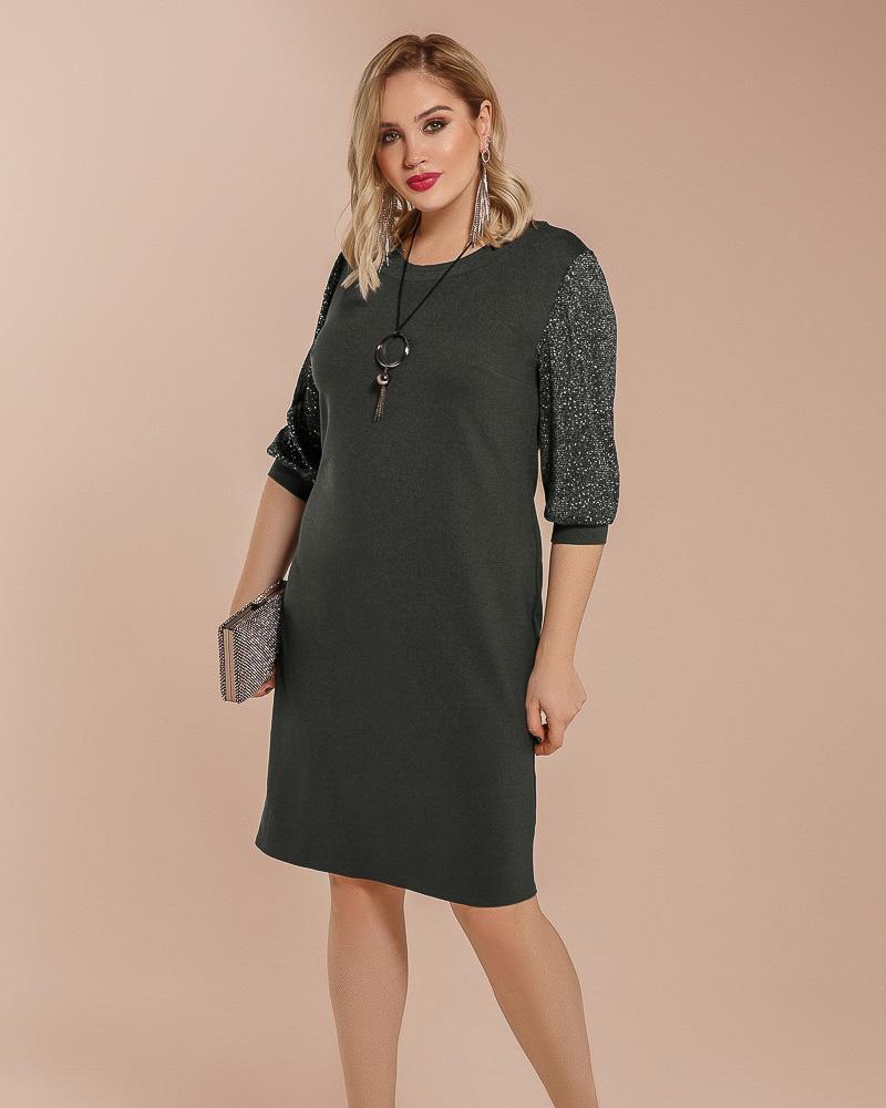 Платье с блестящими рукавами фото