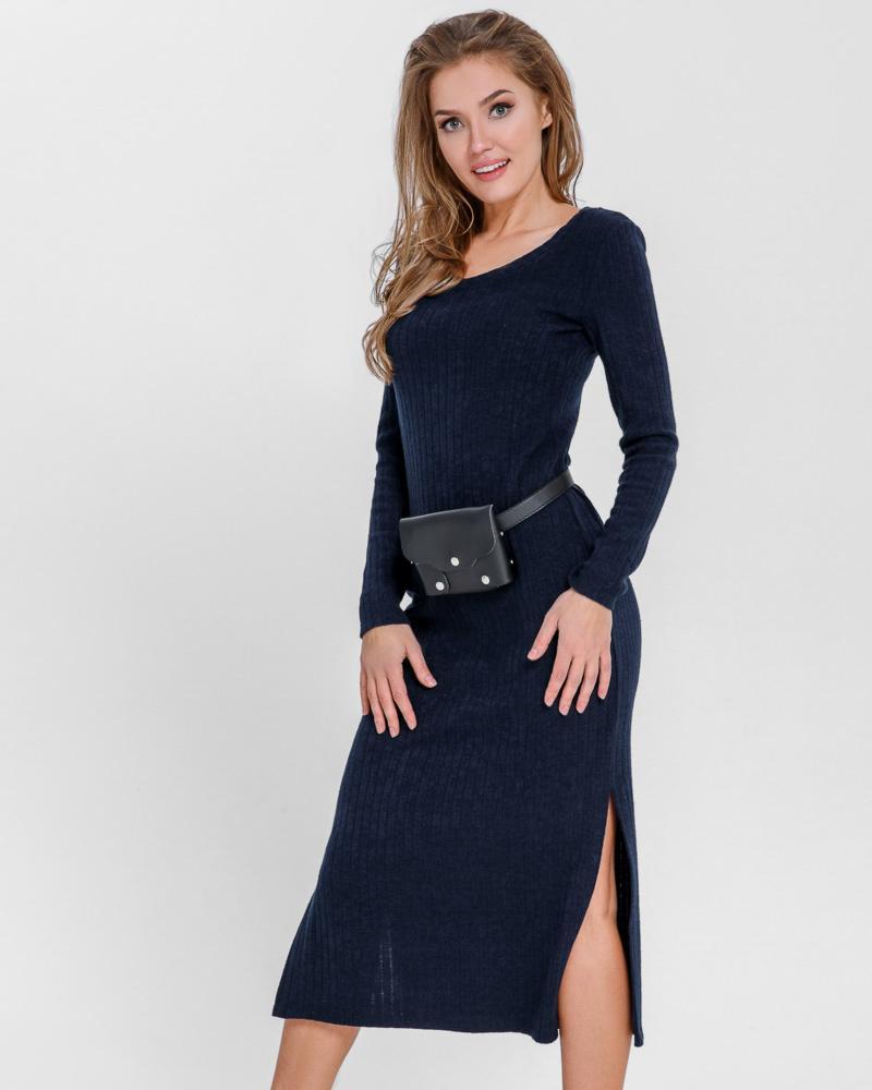 Эффектное трикотажное платье фото