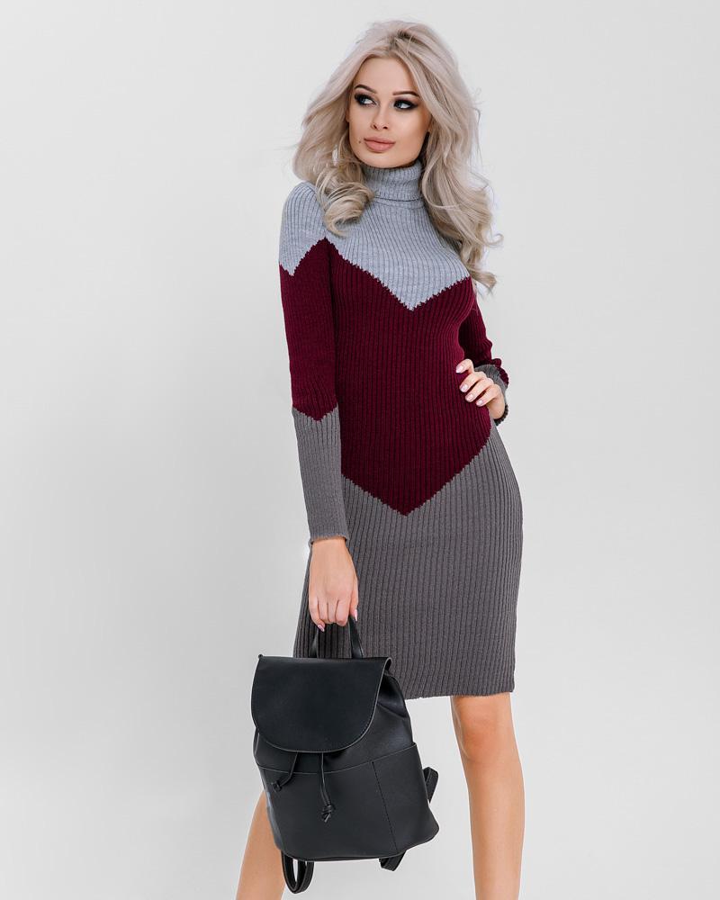Трехцветное платье-миди