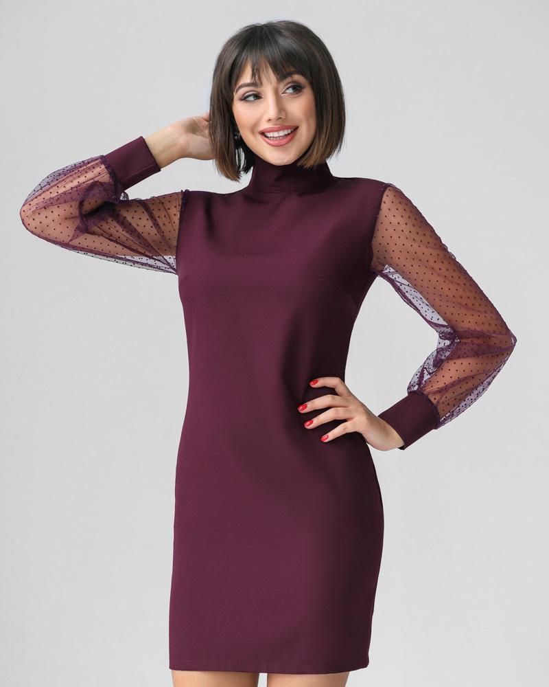 Платье с прозрачными рукавами фото