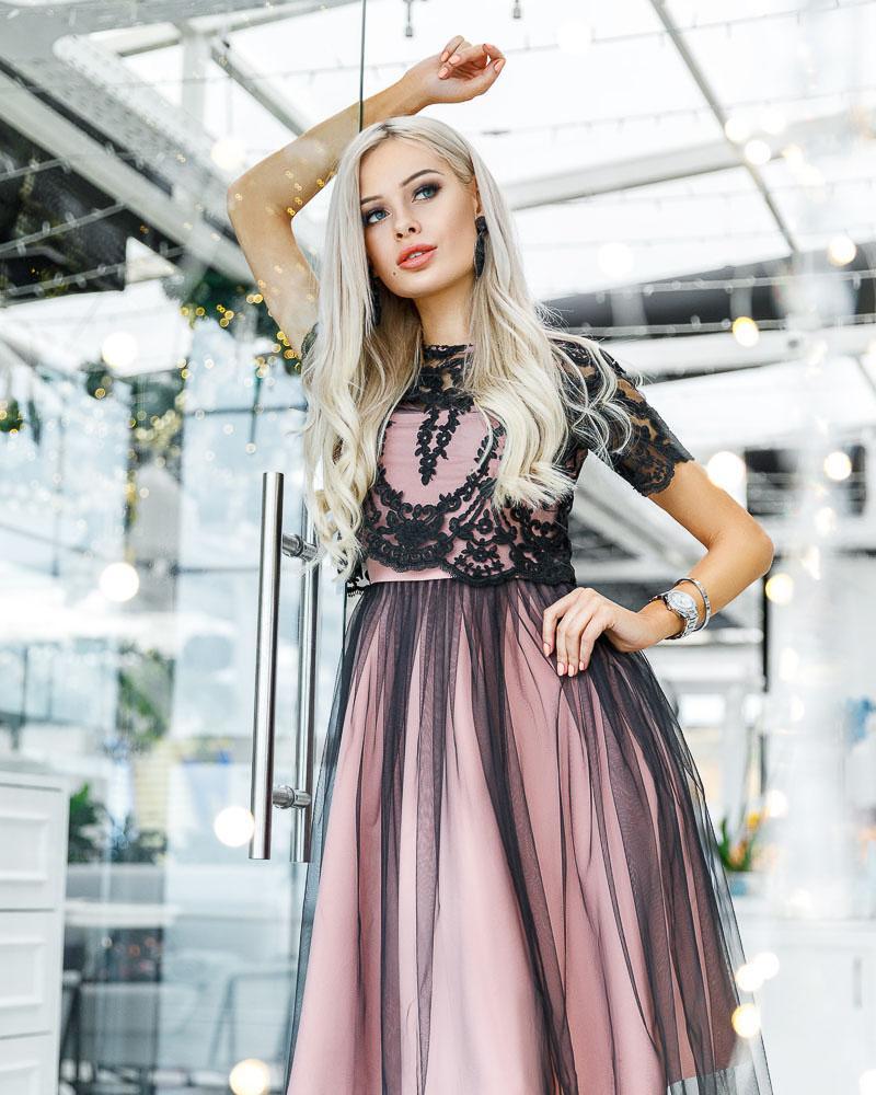 Сукня з мереживним топом от Gepur