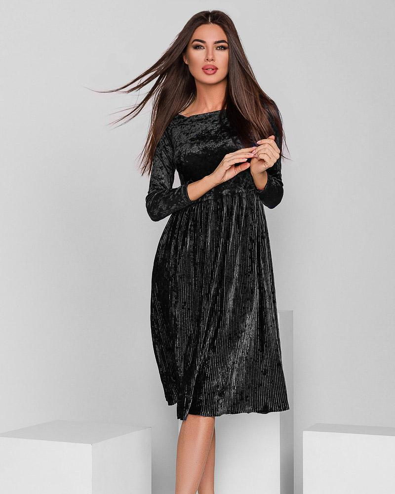 Платье-гофре из бархата