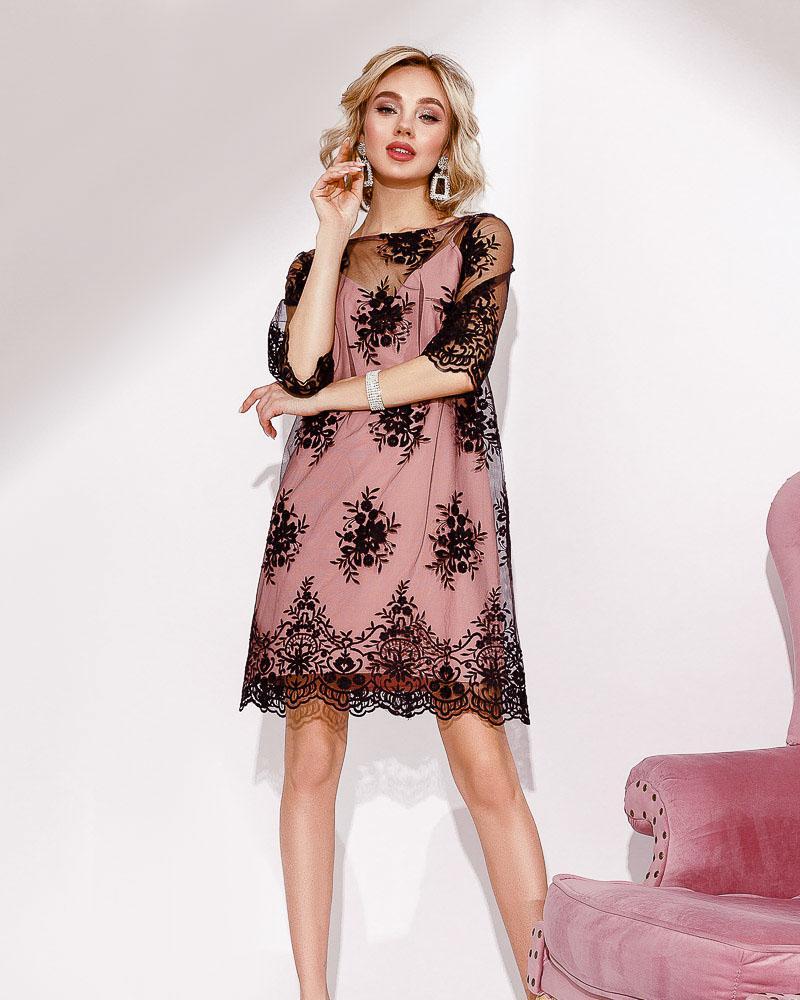 Платье-сетка с кружевом фото