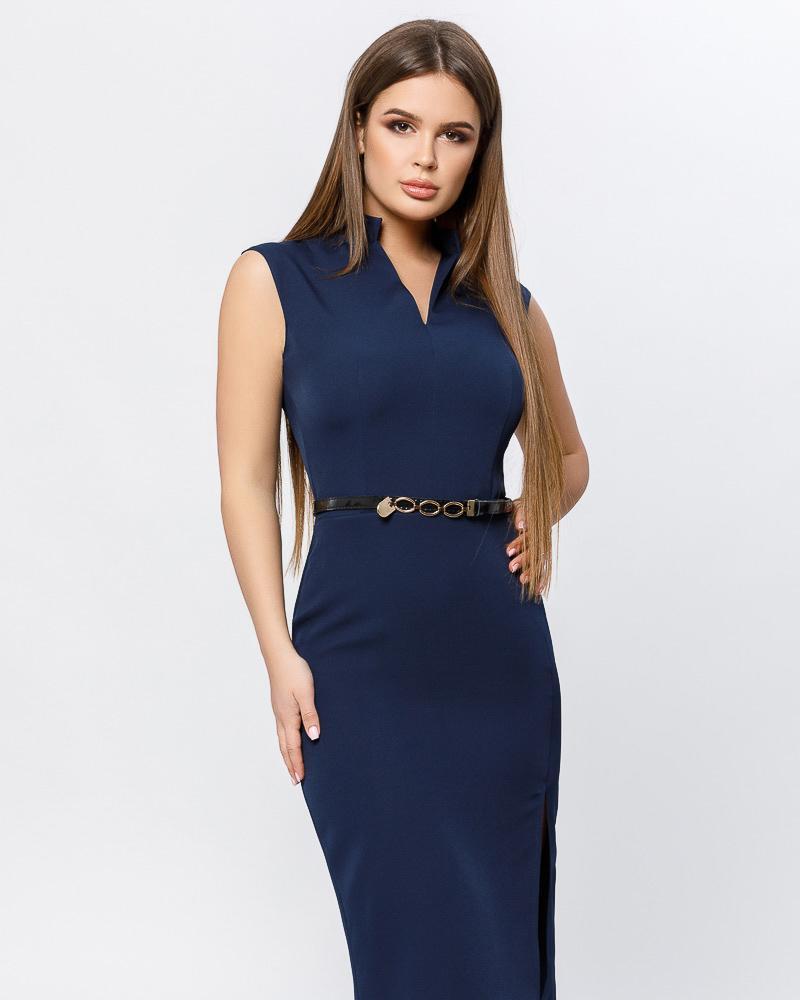 Деловое платье с разрезом фото
