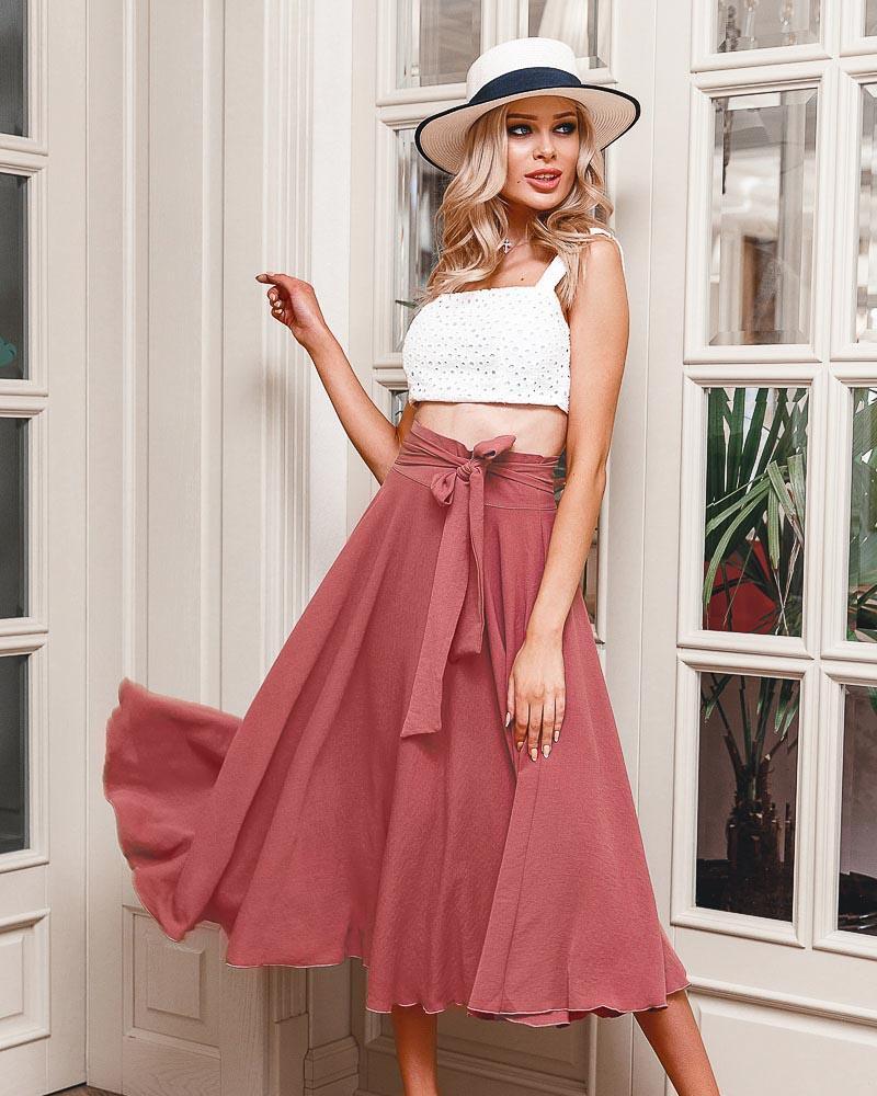 Легкая юбка-полусолнце фото