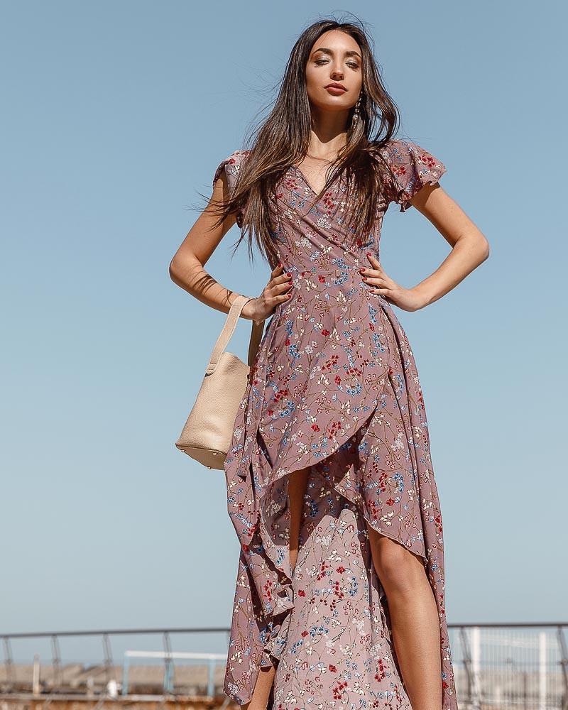 Асимметричное цветочное платье фото