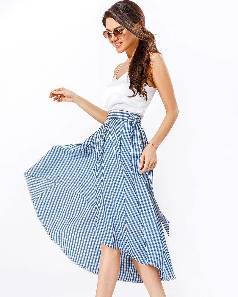 Асимметричная юбка в клетку фото