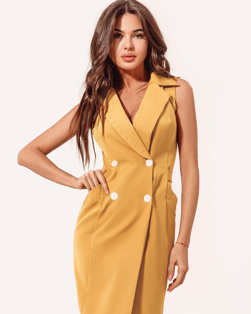 Двубортное платье-пиджак фото