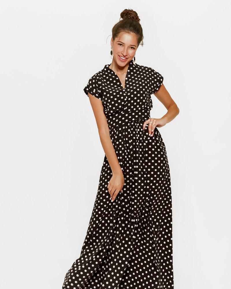 Платье-макси в горошек