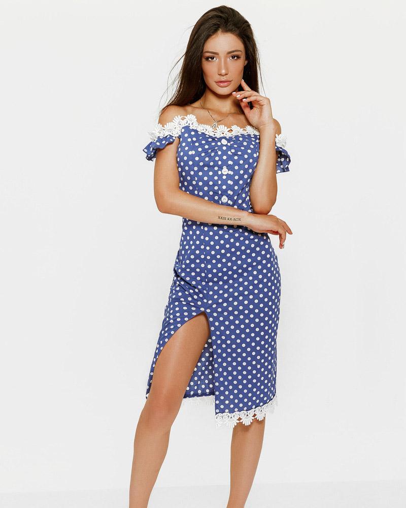 Платье-миди в горошек фото