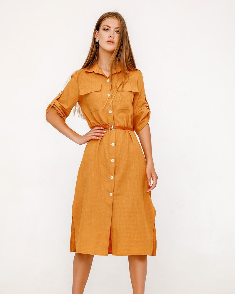 Яркое платье-рубашка