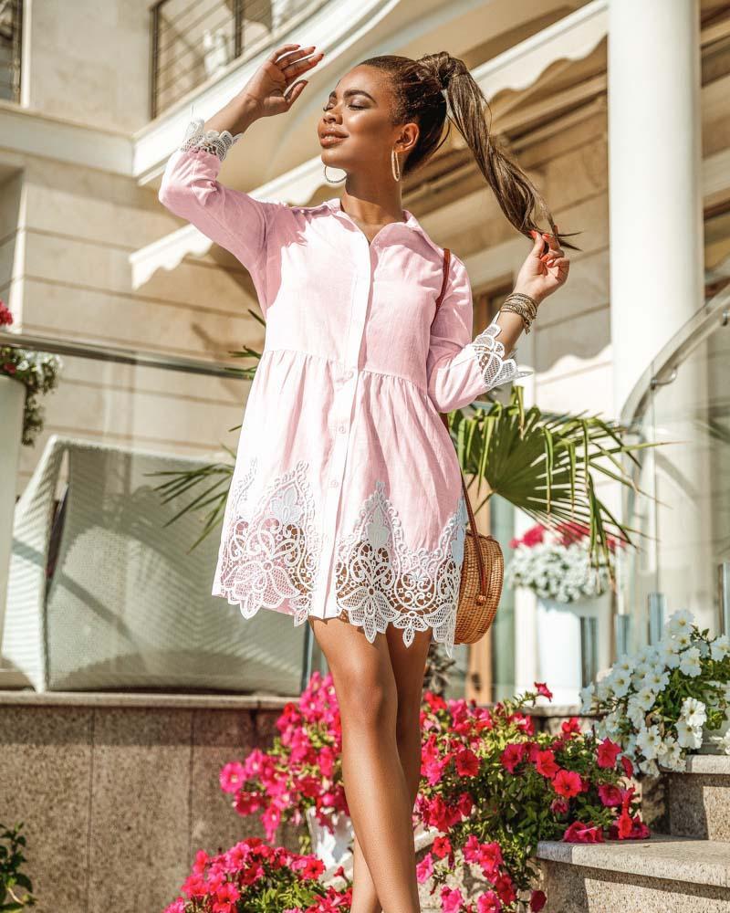 Кружевное платье-рубашка фото