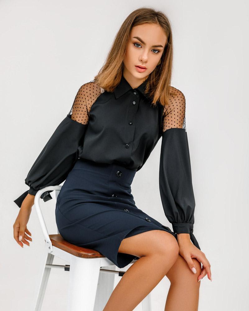 Блуза-рубашка с прозрачными вставками фото