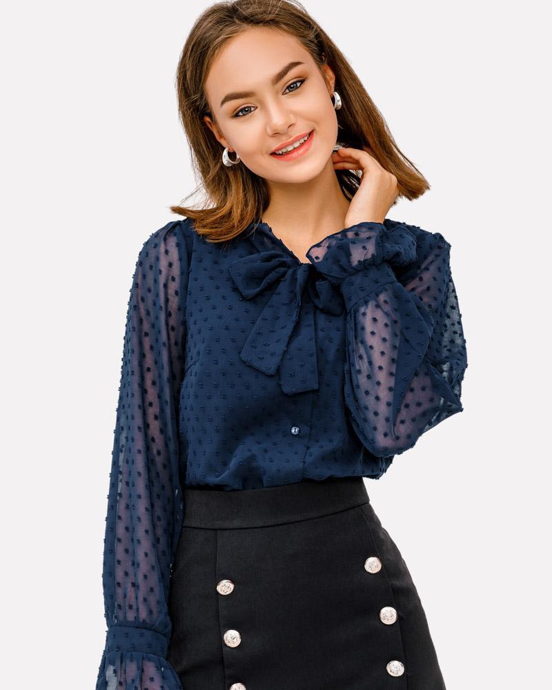 Шифоновая блуза на завязках фото