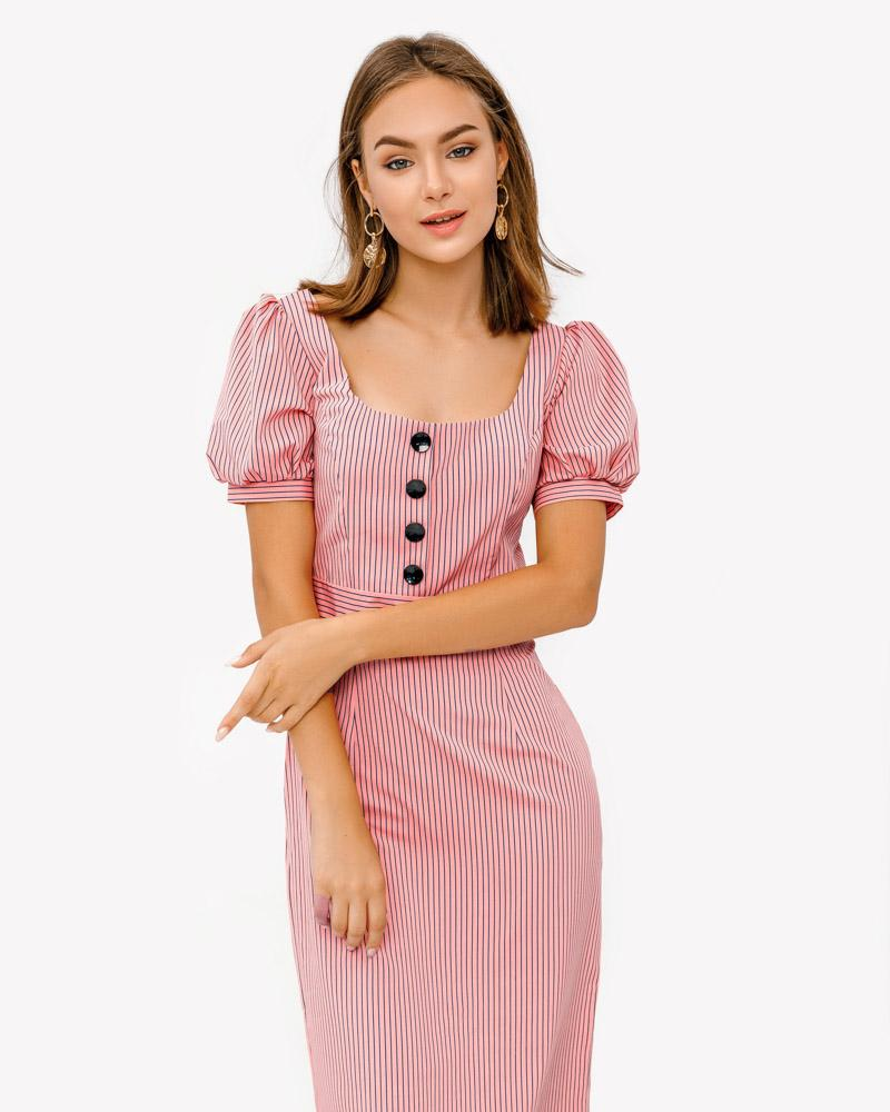 Платье-миди в полоску фото