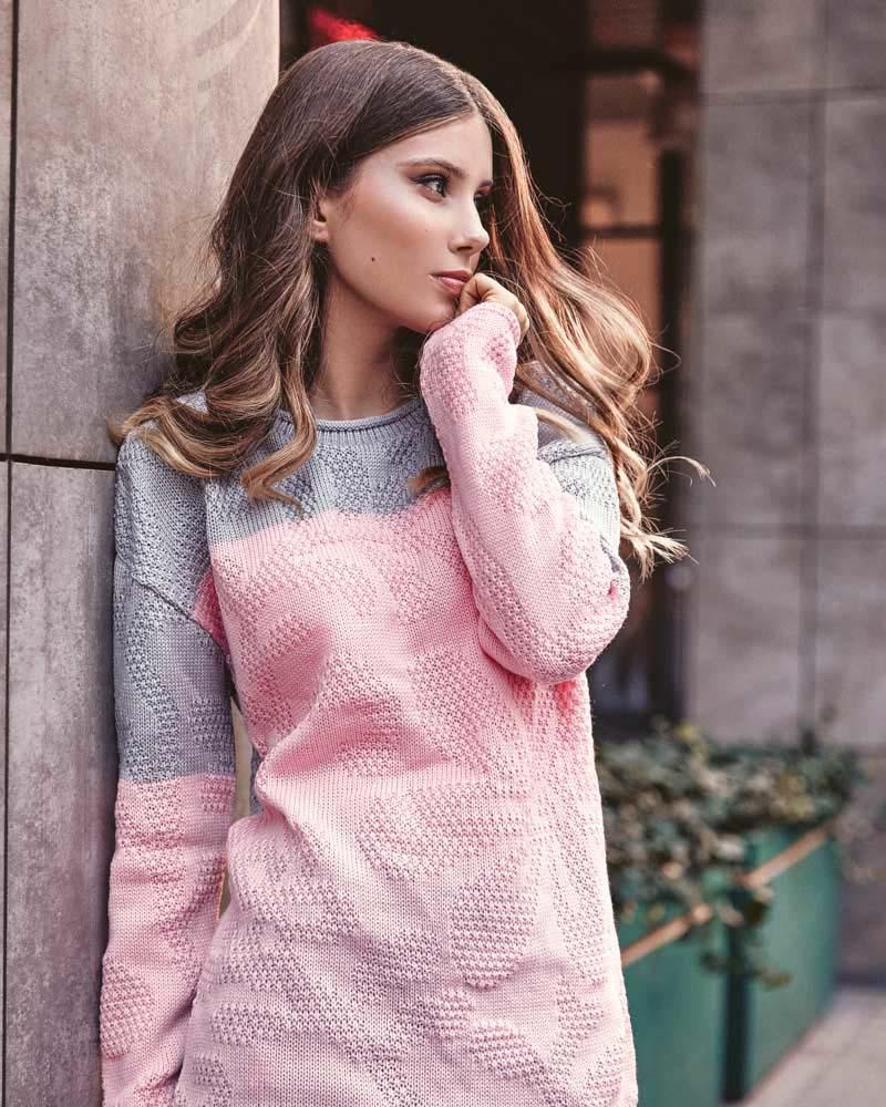 Мягкий двухцветный свитер