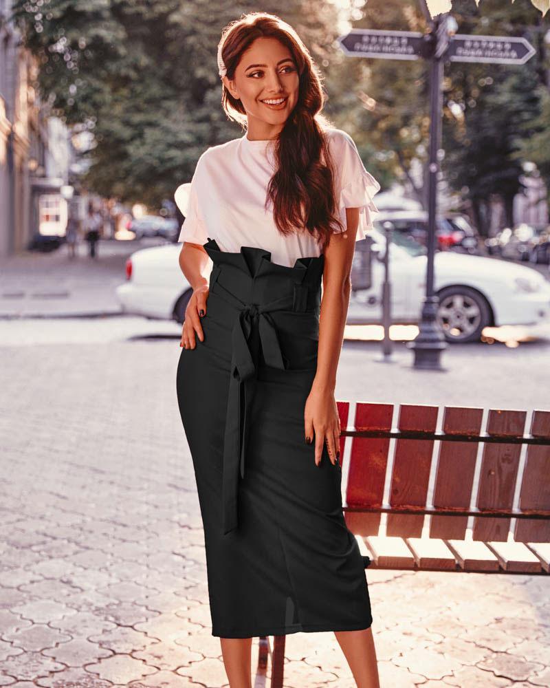 Юбка-миди черного цвета фото