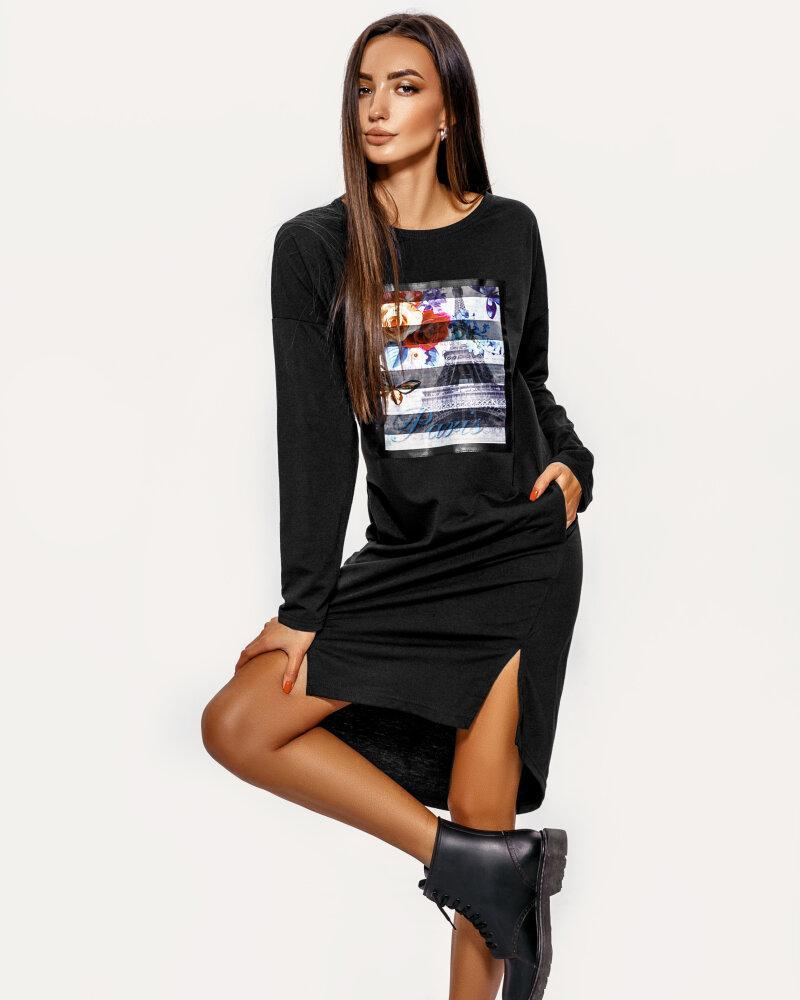 Асимметричное черное платье фото