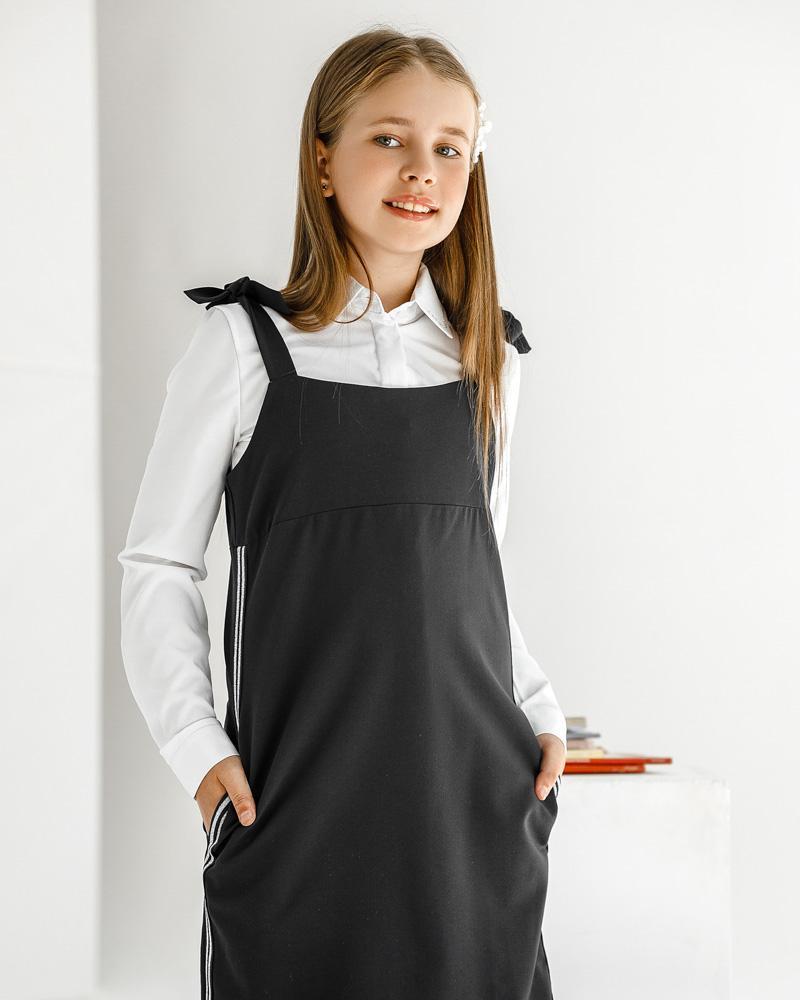 Сарафан черного цвета с лампасами фото