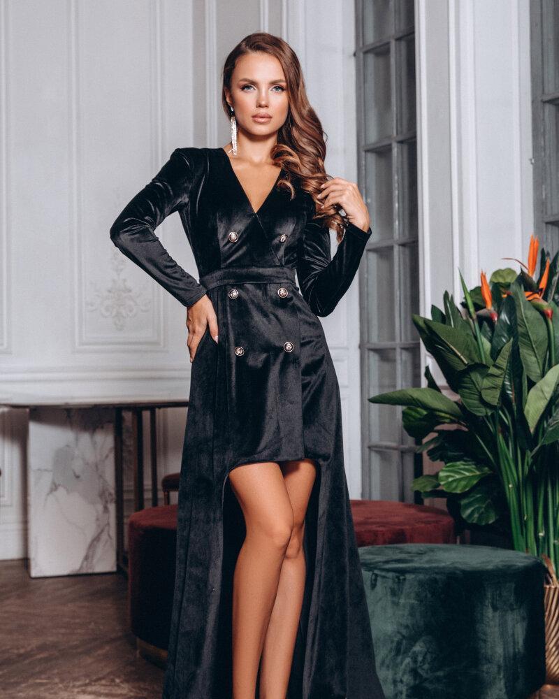 Двубортное платье со шлейфом фото
