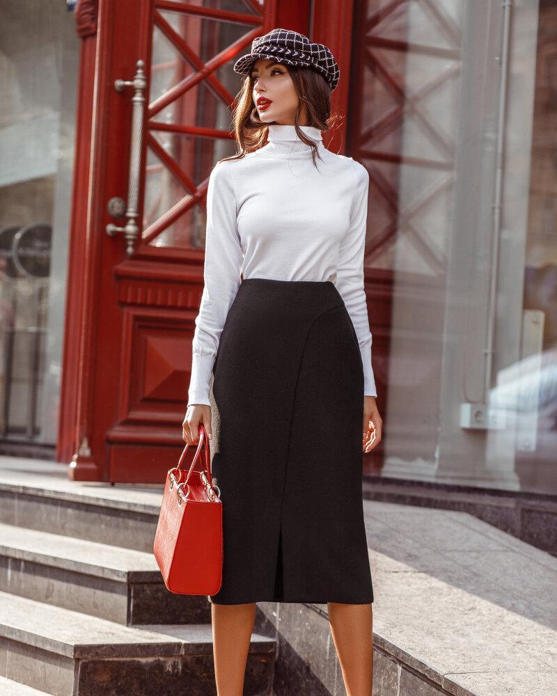 Черная юбка из шерсти фото