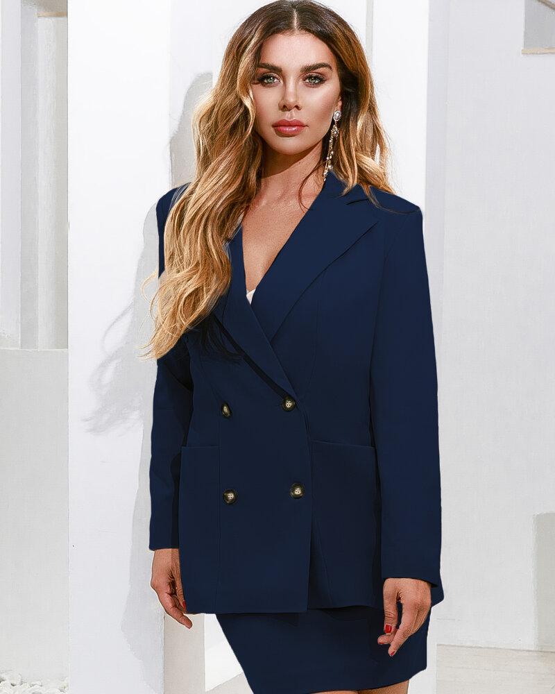 Двубортный пиджак синего цвета фото