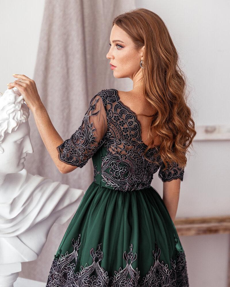 Платье глубокого зеленого оттенка фото