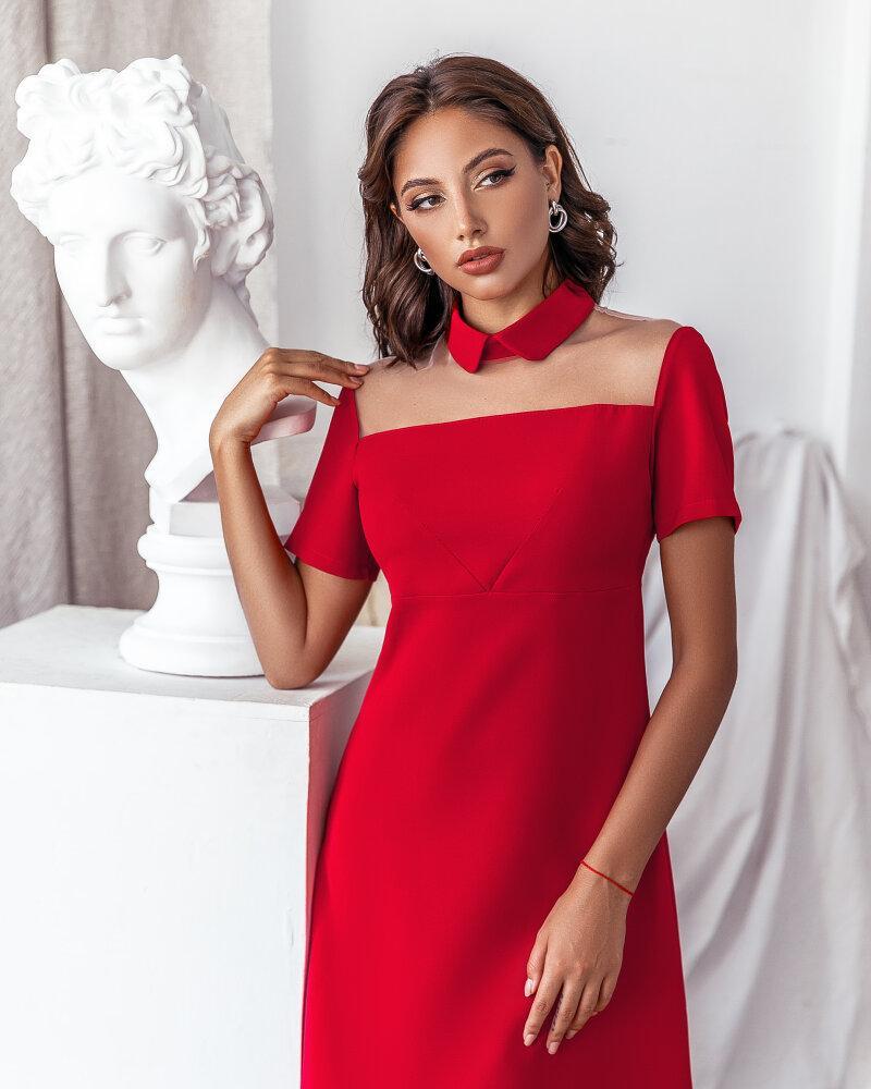 Красное деловое платье