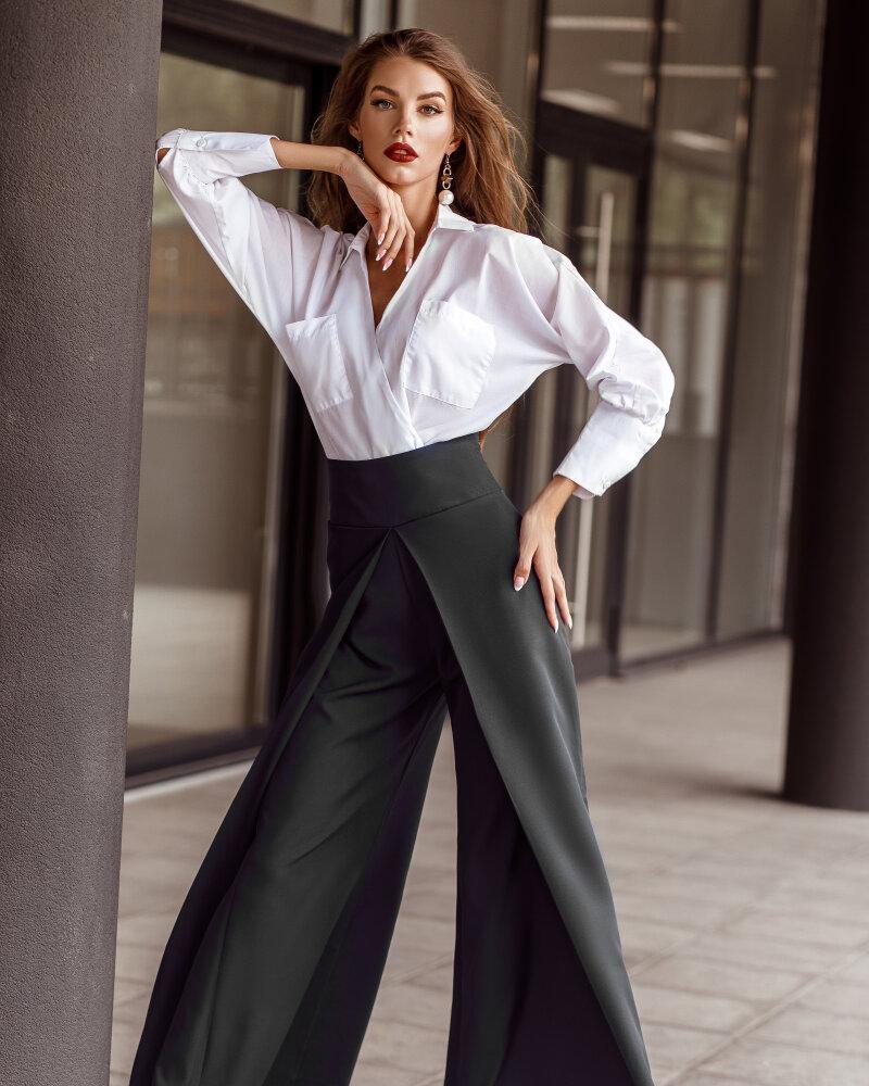 Купить Bryuki-leggensy-shorty_bryuki, Расклешенные черные брюки, Gepur