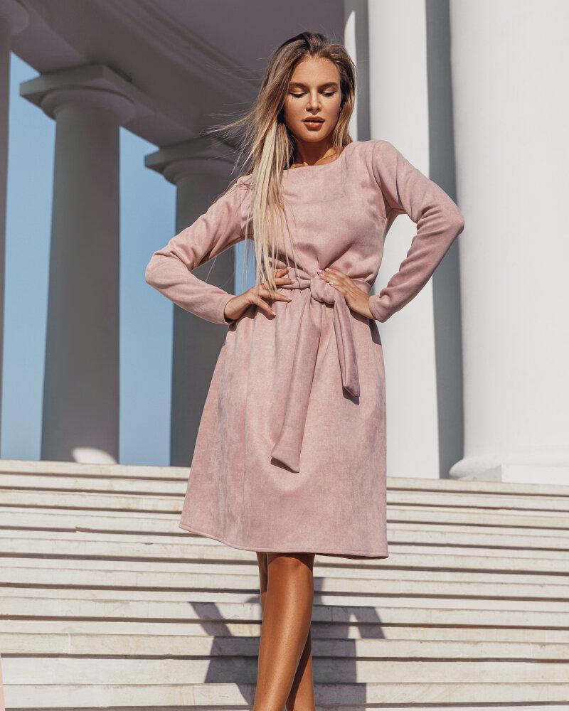 Пудровое платье-клеш фото