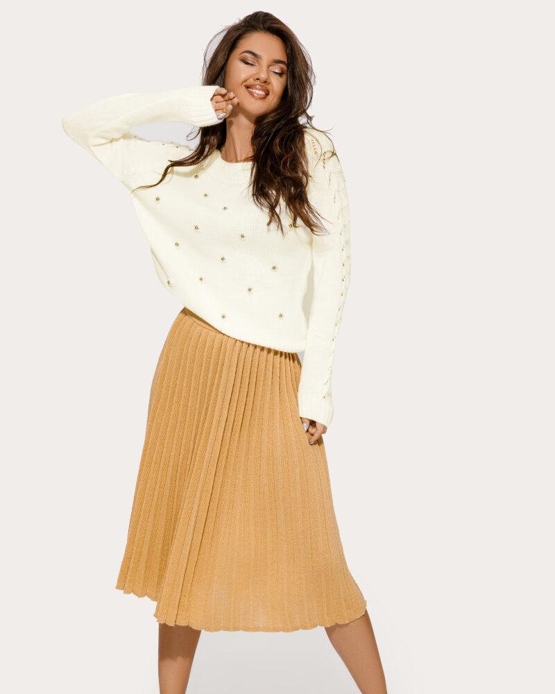 Купить Yubki, Вязаная юбка-миди бежевого оттенка, Gepur