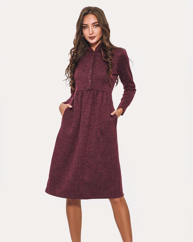 Бордовое теплое платье