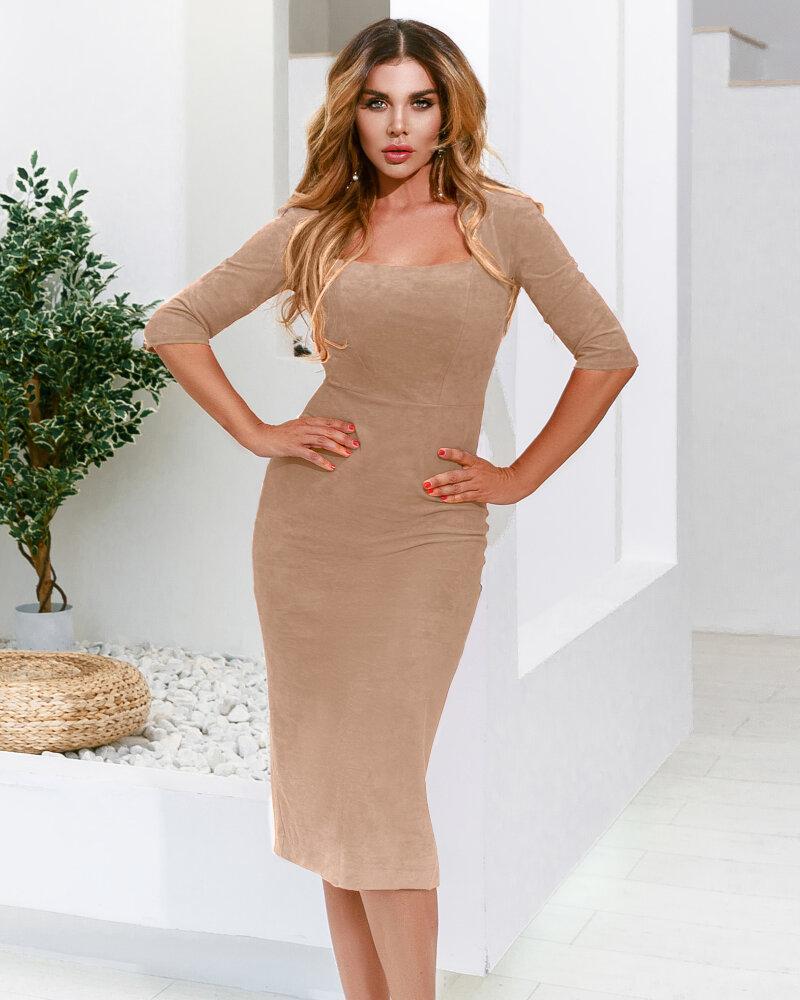 Базовое замшевое платье фото