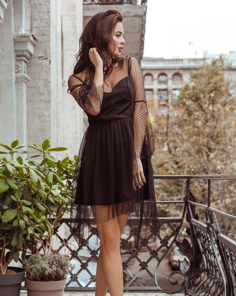 Платье в черный гороховый принт