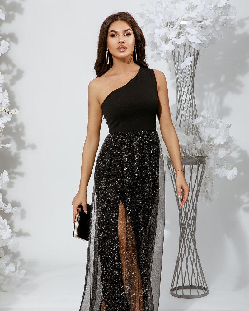 Асимметричное платье с разрезом фото