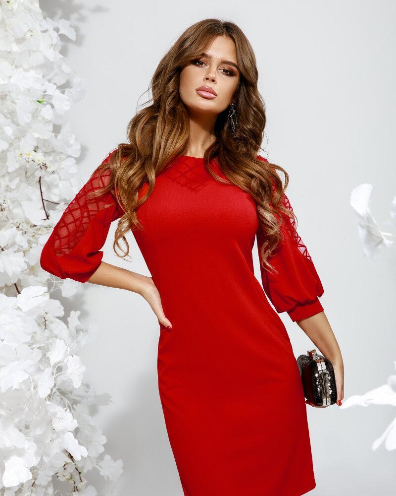 Яркое платье с объемным рукавом фото