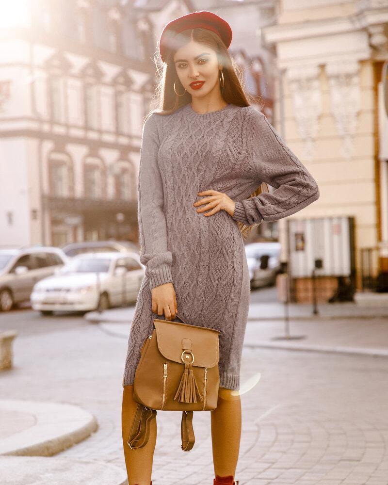 Платье с фактурной вязкой фото