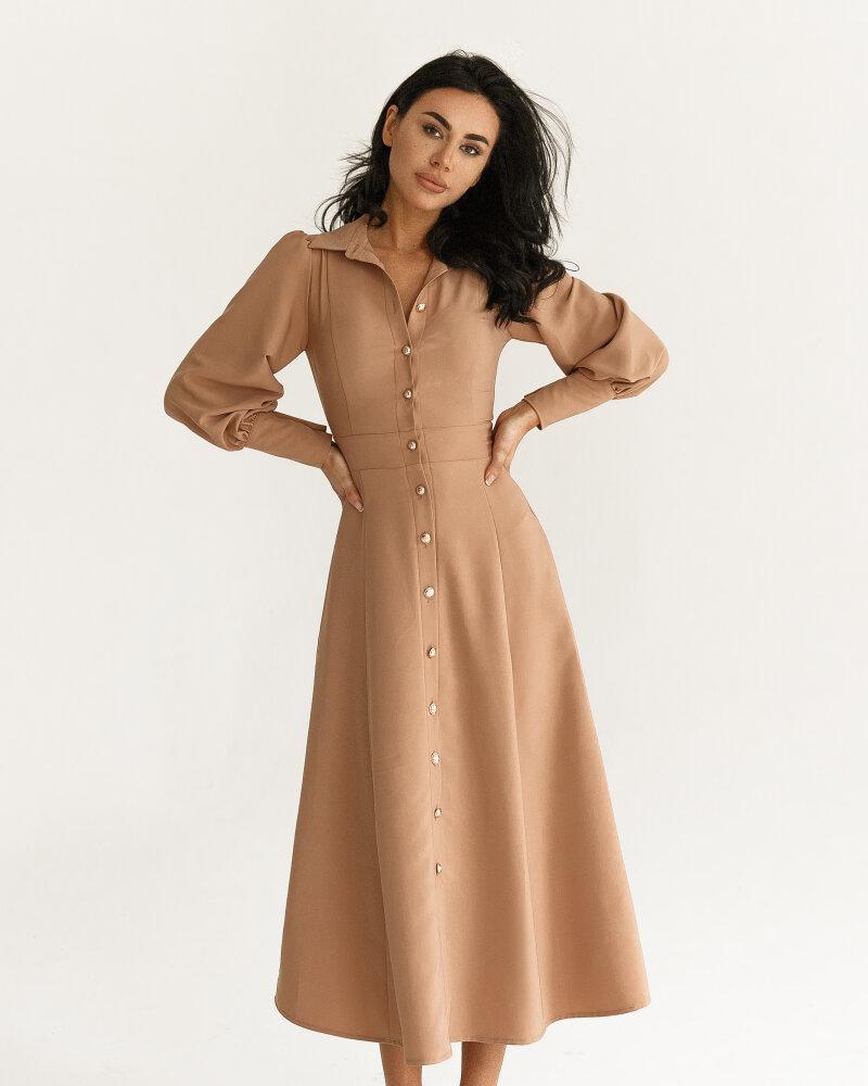Бежевое расклешенное платье фото