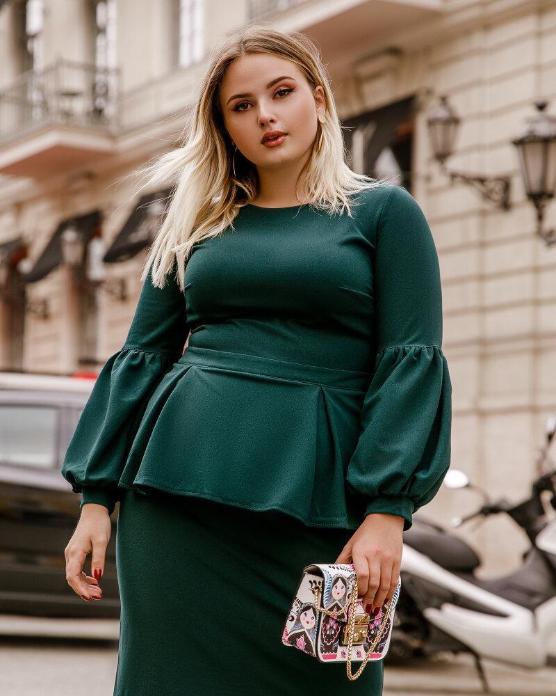 Платье с баской изумрудного цвета фото