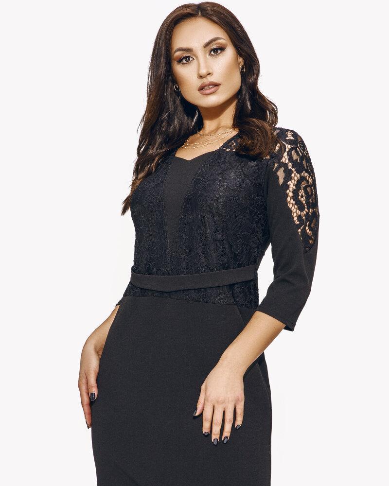 Черное платье с кружевным верхом фото