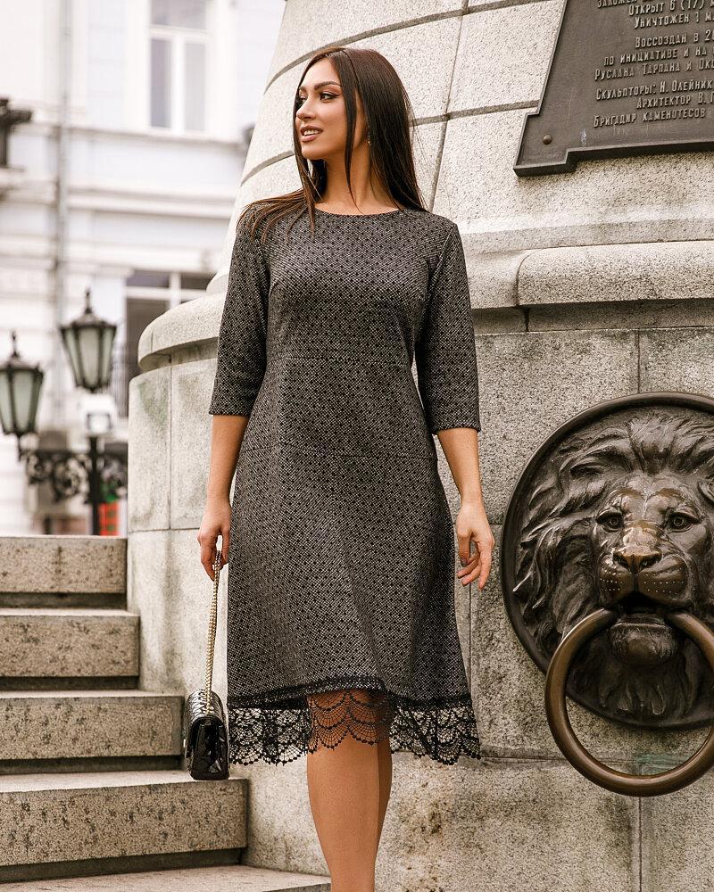 Теплое платье с гипюром фото