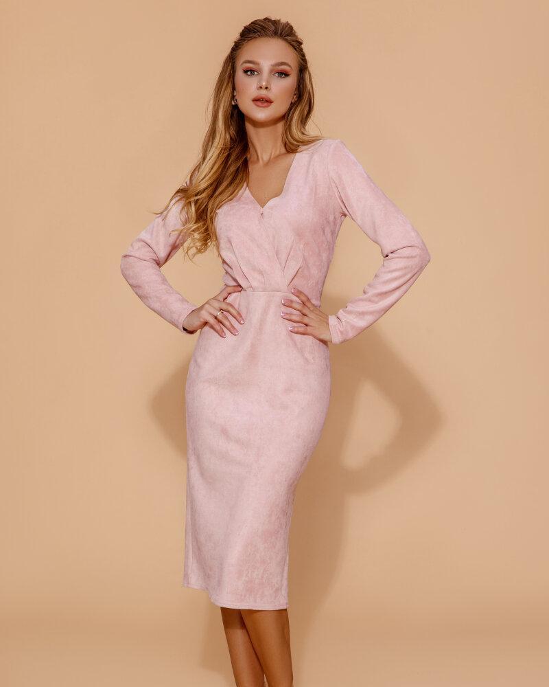 Пудровое замшевое платье фото